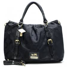 Coach Buckle In Monogram Large Black Satchels CBN