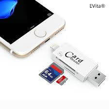 evita lightning to sd card reader adapter sd card tf card 2 in 1 with usb 3 0 2 0 for apple iphone 5 5s 6 6s se 7 7 plus 8 and ipad white