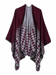 Buy Women's <b>Poncho Fashion Houndstooth</b> Loose Outerwear ...