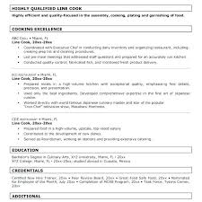 Example Of Cook Resume Resume Bank