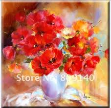 red flower oil painting beautiful impression abstract artwork canvas hand painted home office hotel wall art decor free