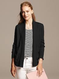 banana republic faux leather trim open cardigan
