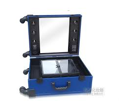 professional makeup trolley with lights vanity box makeup studio with light blue color