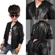 2018 toddler kids boys leather jackets slim motorcycle leather biker jacket coat