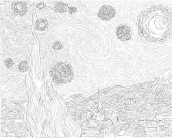 night coloring page vincent van gogh starry print and color
