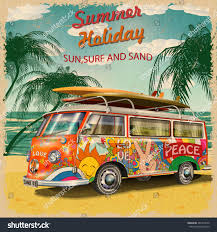 Retro Holidays Summer Holidays Poster Retro Bus Stock Vector Royalty Free