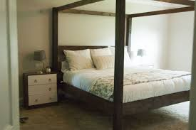 simple rustic modern wood canopy bed easy to make plans diy build ...