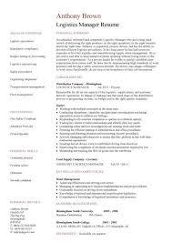 logistics manager cv template example job description supply  logistics manager cv template