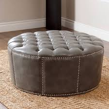 design of round leather ottoman tufted large coffe home coffee table