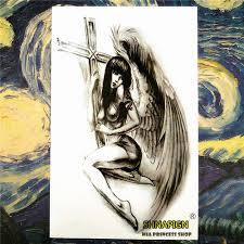 Shnapign Cross Křídla Anděl Dočasné Tetování Body Artrukáv Rameno