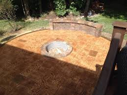 patio best staining concrete patio lovely stamped concrete patio with fire pit rochester mi than