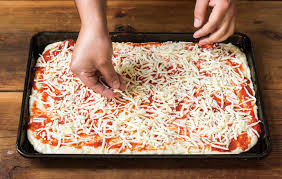 sprinkle cheese on pizza.  Sprinkle Sprinkle The Cheese On Top Of Sicilian Pan Pizza Intended Cheese On P