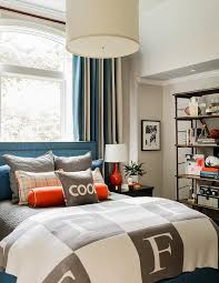 Blue And Gray Boys Bedroom With Gray Monogram Blanket