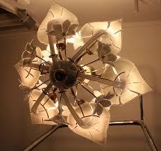 grote italiaanse vintage hanglamp murano glas calla lily jaren 50 italië