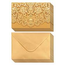 Amazon Com 24 Pack Wedding Invitation Cards Laser Cut Gold Foil