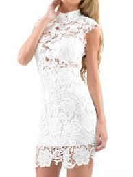 White High Neck Crochet Lace Bodycon Dress Fashion Pinterest