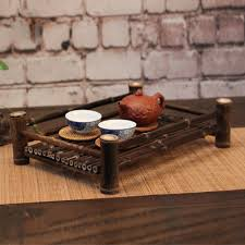 vintage bamboo serving tray tea coffee