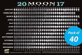 2017 Moon Calendar Card 40 Pack Lunar Phases Eclipses