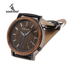bobo bird luxury mens wood watches genuine leather band wooden wrisch