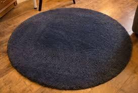 rug dark blue high pile round