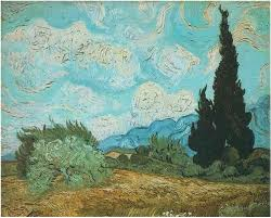 wheatfield with cypresses starry night