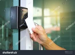 Closeup Hand Inserting Keycard Lock Unlock Stock Photo 625132637 ...
