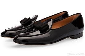lttl luxury men patent leather loafers slip on men s bowtie flats party wedding shoes mens dress shoes