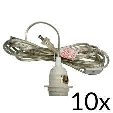 bulk pack 10 single socket pendant light cord kits for lanterns 11ft ul listed clear