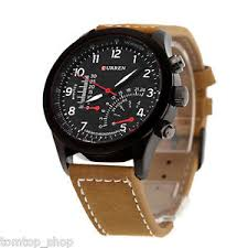 curren army military sport mens watches leather strap luxury image is loading curren army military sport mens watches leather strap