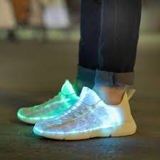 Light Up Roshes Us 25 4 49 Off Luminous Fiber Optic Fabric Light Up Shoes Led 11 Colors Flashing White Adult Girls Boys Usb Rechargeable Sneakers With Light In