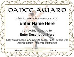 Dance Award Certificate Template Dance Certificate Template Award ...