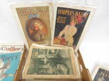 LOT ASSORTED VINTAGE MAGAZINES INCLUDING THE DELINEATOR, MODERN PRISCILLA,  HARPER'S BAZARR, LADIES HOME JOURNAL, 1910-1940'S