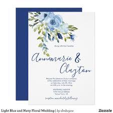 Light Blue Wedding Invitations Light Blue And Navy Floral Wedding Invitation Zazzle Com