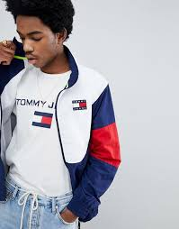 tommy jeans 90s sailing capsule track jacket in navy white red peacoat multi men