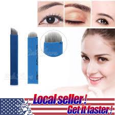 dels about tx 100 pcs permanent makeup eyebrow tattoo blade microblading needles portabl e