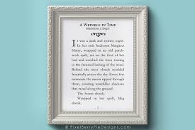 A Wrinkle In Time First Page Book Enlargement Madeleine L Engle Quote 8 X 10 Art Print