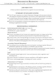 Ele Insurance Resume Objective Examples As Resume Cover Letter