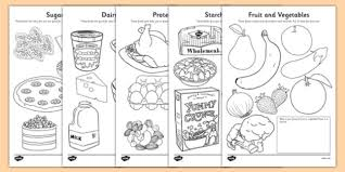 Healthy Eating Colouring Sheets Healthy Eating Food Groups