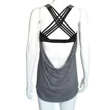 Details About Lululemon Tank Top Strappy Wild Free Gray Layered Bra Womens Size 10 In 750
