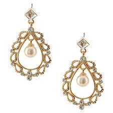 topwholejewel fashion jewelry gold plating faux pearl chandelier teardrop earrings