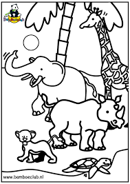 Kleurplaat Wilde Dieren Olifant Giraf Neushoorn Kleurplatennl