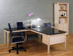 contemporary executive office set with an l shaped desk in maple wood with black granite