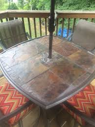 Outdoor Tile Table Top Slate Patio Table Original Glass Top Was Shattered So I Replaced