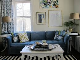 beautiful blue living room decorating ideas pictures blue microfiber arms sofa white black striped rug round
