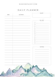 Mountain Theme 1 Planner Pages 2019 Bunny Met Sunny