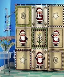 Christmas Country Santa Claus Fabric Shower Curtain Home Bathroom Decor Festive eBay