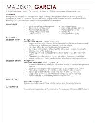 Administrative Receptionist Resume Medical Office Receptionist