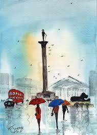 original signed watercolour painting london trafalgar square by kj carr