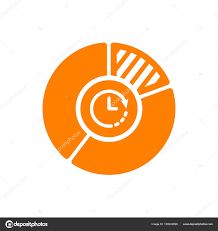 Pie Chart Icon Business Icon With Clock Sign Pie Chart