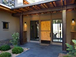 exterior: Delicate Exterior House Design Ideas With Rustic Front Porches  Themes Again Metal Post Also